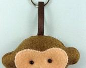 Felt Keychain. Felt Keyring. Felt Monkey Keychain. Monkey Keyring. Soft Felt Monkey. Ornament. Bag Charm.