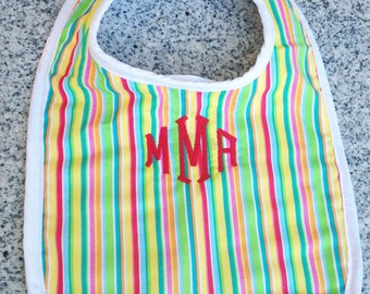 Monogrammed Baby BIb in Rainbow Stripe  / Baby Gift