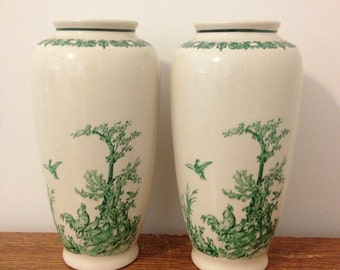 Pair of Vintage Green Toile Pattern Vases