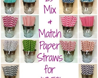 25 Mix and Match Paper Straws Weddings, Events, Gender Reveal, Birthdays, Polka Dot, Striped, Chevron, Birch, Bamboo Cake Pops Accessories
