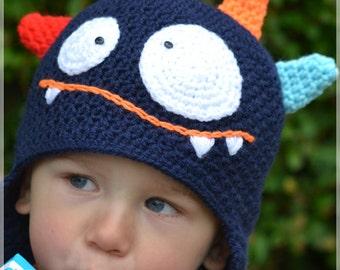 Handmade Crochet Monster hat for boy, Kids hat, little Monster hat, Character hat, Ready to ship