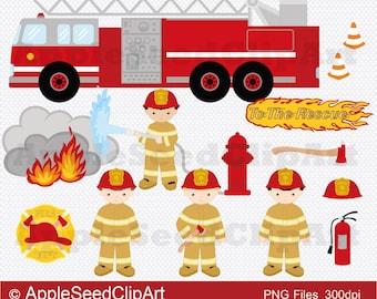 Firefighter Digital Clip Art, Fire Engine Digital Clip Art, Fire Truck Digital Clip Art, Cute Girls Digital Clip Art, Instant Download