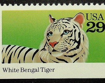White Bengal Tiger USA -Handmade Framed Postage Stamp Art 17341