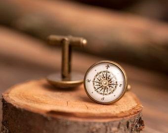 Vintage compass cufflinks, men cufflinks, antique brass cufflinks, glass dome cufflinks, glass cufflinks, men accessories, gift for