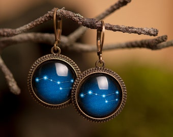 Ursa Major earrings, Big Dipper earrings, galaxy earrings, dangle earrings, antique brass earrings, constellation earrings, space earrings