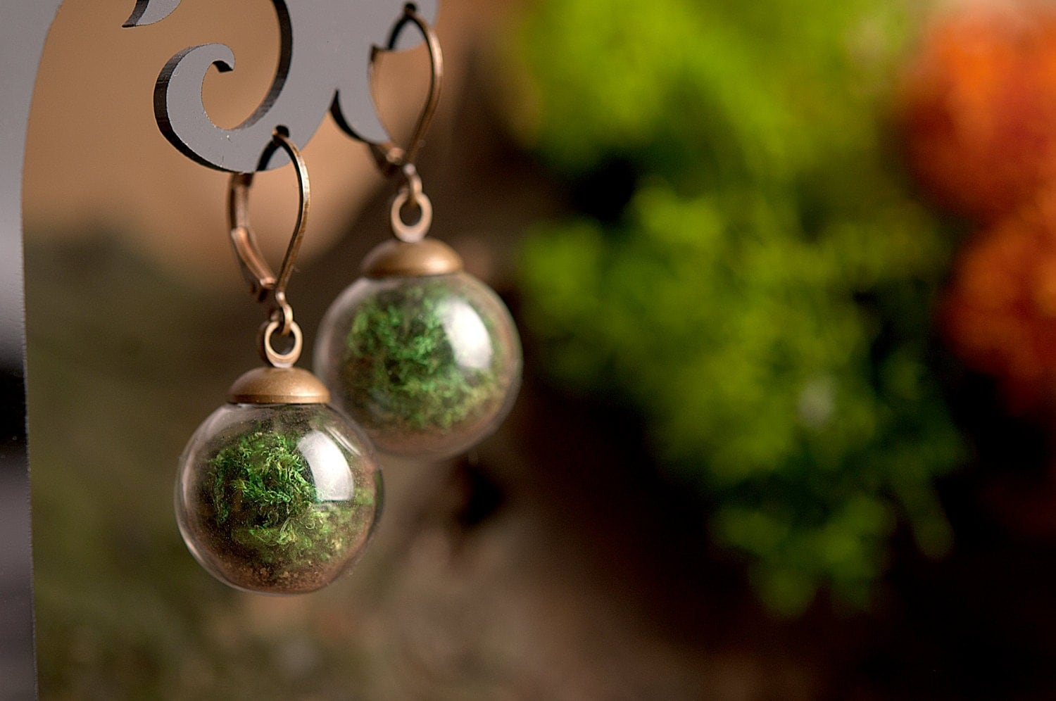 Real Moss Earrings Terrarium Earrings Nature Earrings Green # Terrarium Dangle