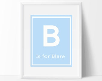 Baby Boy Nursery Art,  Personalized Name and Monogram, Suits Blue Nursery, Baby Boy Nursery Art Print - Custom Color - N1067- Unframed