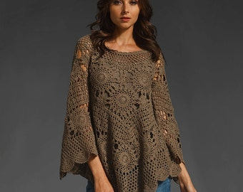 Trendy crochet tunic PATTERN, detailed TUTORIAL for every row with HQ charts, boho crochet tunic pattern, designer tunic crochet pattern.