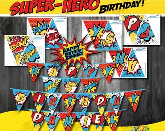 SUPERHERO Party Banners! Printable Superhero Birthday Banner, Superhero Party Printable Banner, Super Hero Birthday, ItAllAboutKidz