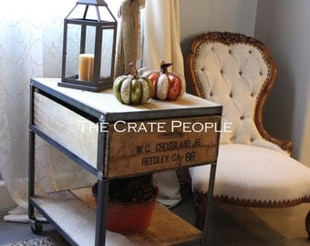 Industrial Side Table on Casters with shelf on bottom   Vintage Wood Crate Furniture -- Custom Made Furniture