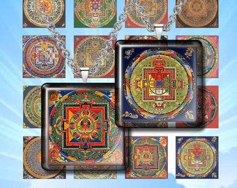 "MANDALA-  Digital Collage Sheet – 1"" & 1.5"" squares – Printable Download for Pendants, Earrings, Charms"