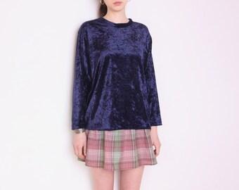 90's navy blue velvet blouse, grunge blouse, crushed velvet blouse, plus size, oversized blouse