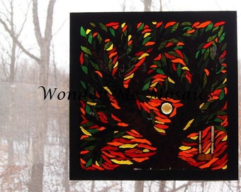 Stained Glass Mosaic on Glass - Sunrise Over Heart Tree