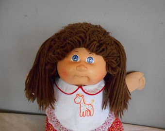Cabbage Patch Kid Brown Hair with Pig Tails, and curles Blue Eyes  Headmold #4