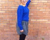 Vintage Cobalt Blue Cut Out Acrylic Knit Sweater // Size M/L