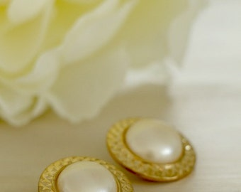 Classic Pearl Button Earrings In Brilliant Gold Tone Finish