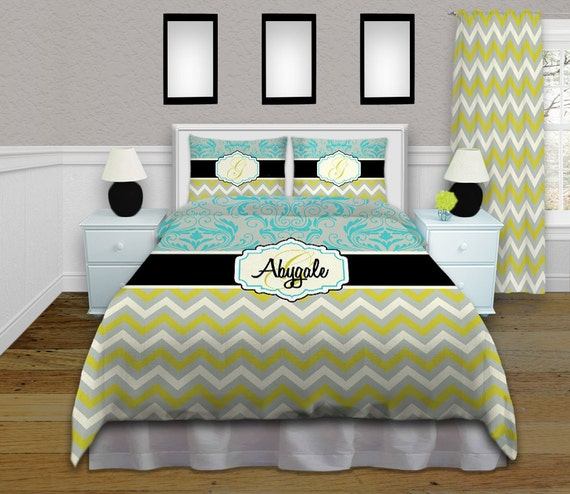 Gray Green Turquoise Bedding Chevron by EloquentInnovations