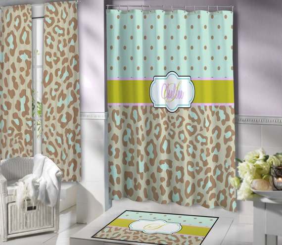 mint green cheetah print shower curtain brown fabric shower curtain
