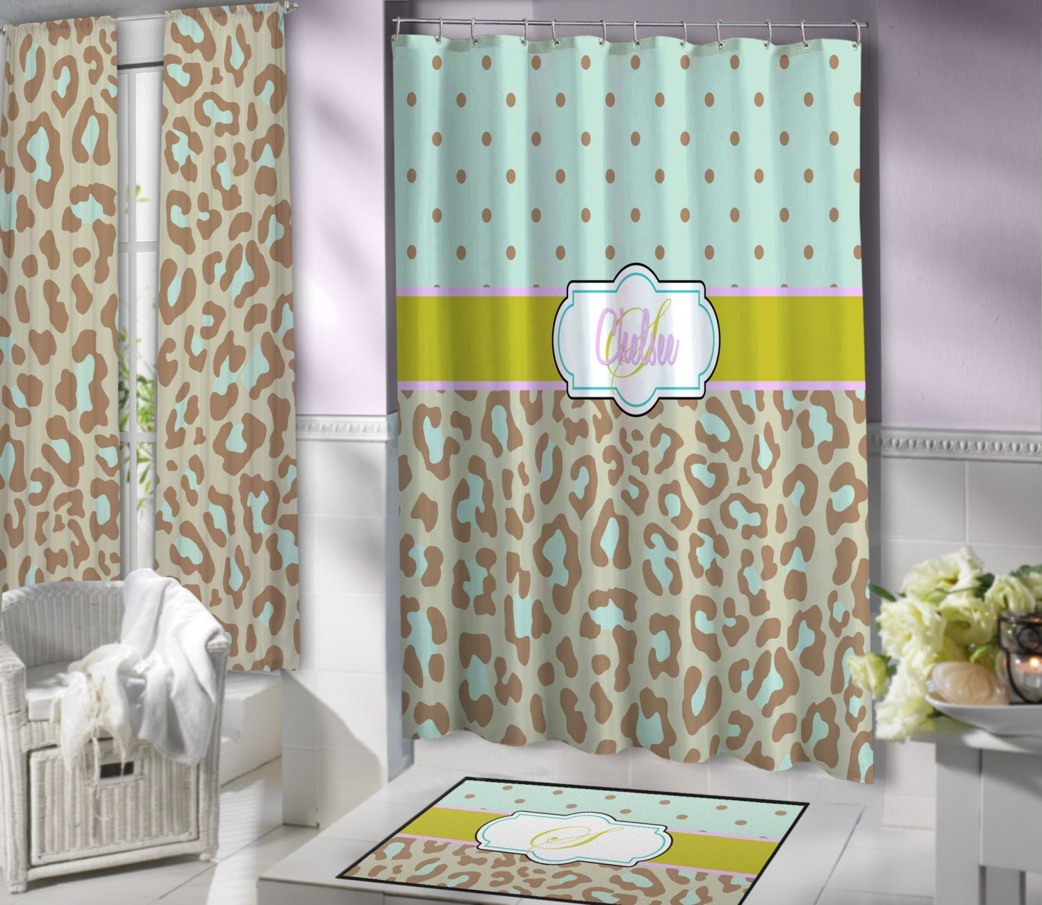 mint green cheetah print shower curtain brown fabric shower