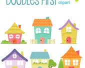 Cute Houses Digital Clip Art for Scrapbooking Card Making Cupcake Toppers Paper Crafts