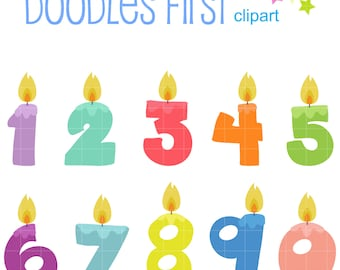 Birthday Candle Set Digital Clip Art for Scrapbooking Card Making Cupcake Toppers Paper Crafts