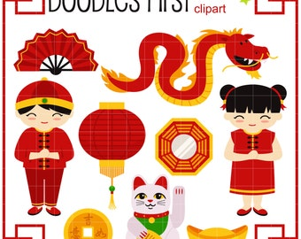 Kung Hei Fat Choi Chinese New Year Digital Clip Art for Scrapbooking Card Making Cupcake Toppers Paper Crafts