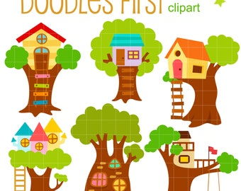 Cute Tree Houses Digital Clip Art for Scrapbooking Card Making Cupcake Toppers Paper Crafts