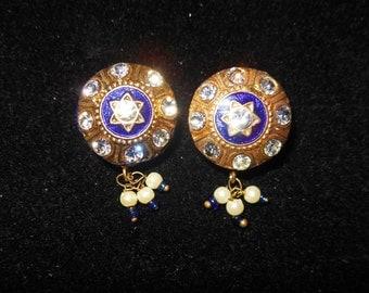 Enamel Rhinestone dangle earrings