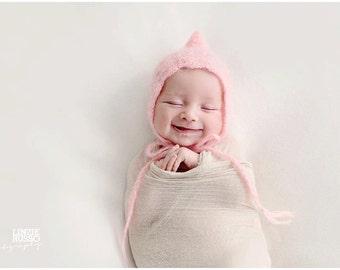 match color - Mohair Silk Crochet/Knitt Pixie Bonnet - Ready to Ship Photography Prop