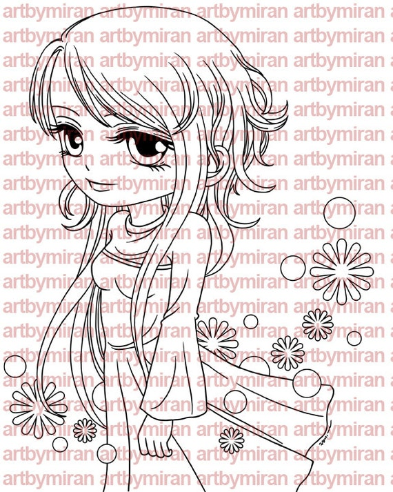 Digital Stamp - Davina, Digi Stamp, Coloring page, Printable Line art for Card and Craft Supply