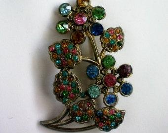 Art Nuevo Pot Metal Colored Rhinestone Floral Brooch - 3774