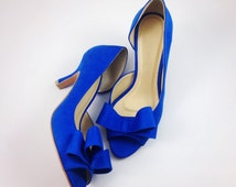 Something Blue Wedding Shoes, Electric Blue Wedding Shoes, Cobalt Blue Bridal Shoes, Blue Bridesmaids Shoes, Royal Blue Suede Half d'Orsay