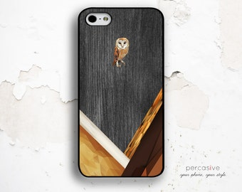 Owl iPhone Case Geometric Wood - iPhone 5 / 5s / 5c Case, iPhone 4 / 4s Case, Owl iPhone 5s Case Wood  :0642