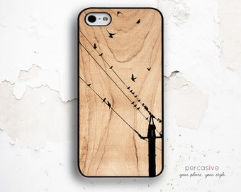 iPhone 6 Case Birds on Wire - iPhone 4 Case, iPhone 4s Case, iPhone 5s / 5C  Case, Wood Texture iPhone 6 Case Birds :0726