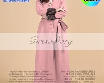 Cherry Pink Cashmere Wool Coat with Black Lace Details and Stand Collar - Pink Cashmere Coat - Pink Aline Coat-Long Pink Coat-40+ Colors-BC5