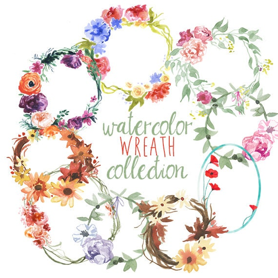 Watercolor Wreath Collection Floral Clipart Clip Art Wreaths Flowers Winter Spring Summer Fall Colors Wedding Florals From