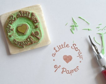 Custom rubber stamp logo - hand carved - gift idea