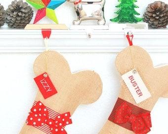 PERSONALIZED Dog Christmas Stocking, Unique burlap holiday bone stocking, Unique Pet Gifts, Polka Dog Stocking, Fun and Beautiful!