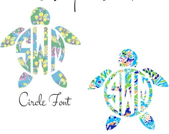 Car Monogram, Monogram Decal, Monogram Turtle Decal