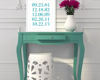 Important Family Dates Art Print - Custom Numbers Poster - Personalized Anniversary Art Gift - Special Dates Poster - Turquoise Blue