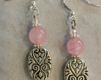 Rose Quartz and Silver Drop earrings