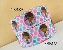 "3 Yards 1.5"" Doc McStuffins Polka Dots Inspired Grosgrain Ribbon-Hair bow Supply-Girls-Fabric-Craft-Sewing"