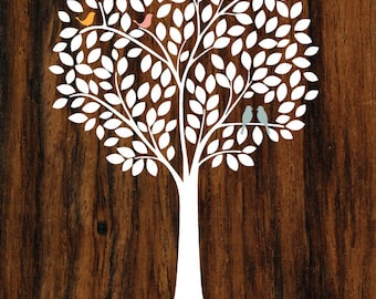 Personalized Family Tree/Mother's Day Gift/Wedding Gift/First Paper Anniversary/House Warming/Family Name/Birds/Walnut Wood Look - 8x10 & up