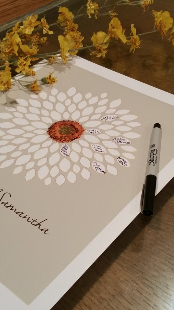 wedding guest book alternative bridal shower guest book  flower