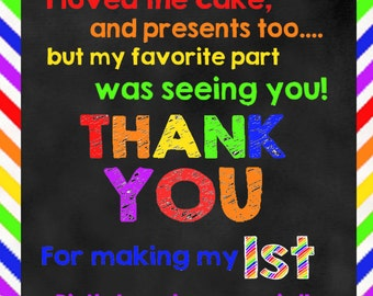 Rainbow Birthday DIGITAL Thank You Note (with or without photo)