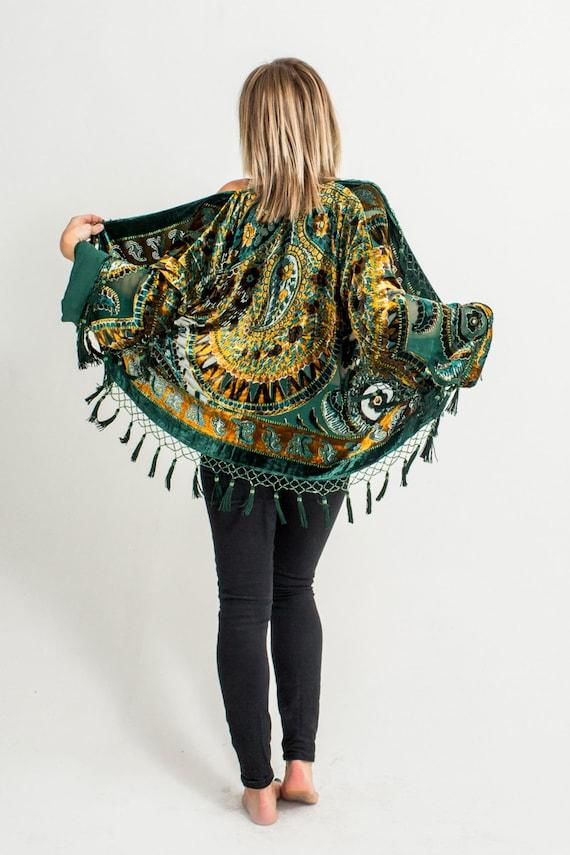 Velvet Beaded Fringe Kimono | Emerald Green