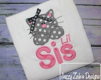 Lil Sis Kitten Applique embroidery Design - sister Appliqué Design - kitten Applique Design - cat Appliqué Design - sis Applique Design
