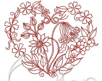 MACHINE EMBROIDERY DESIGN - Floral heart, valentines heart