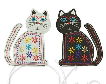 MACHINE EMBROIDERY DESIGN - Two Mexican Cats