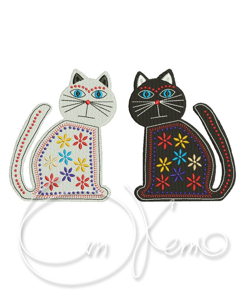 Machine embroidery design two mexican cats